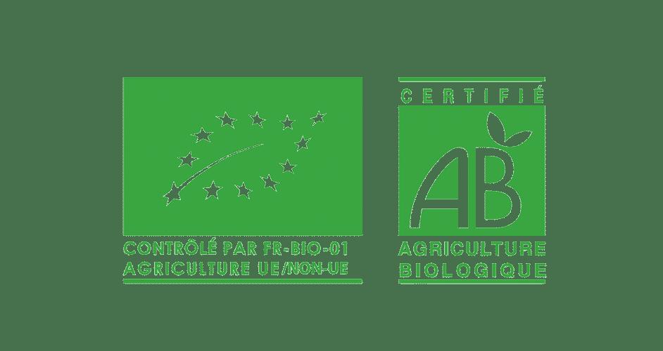 Logos du contrôle FR-BIO-01 et de la Certification AB Agriculture Biologique